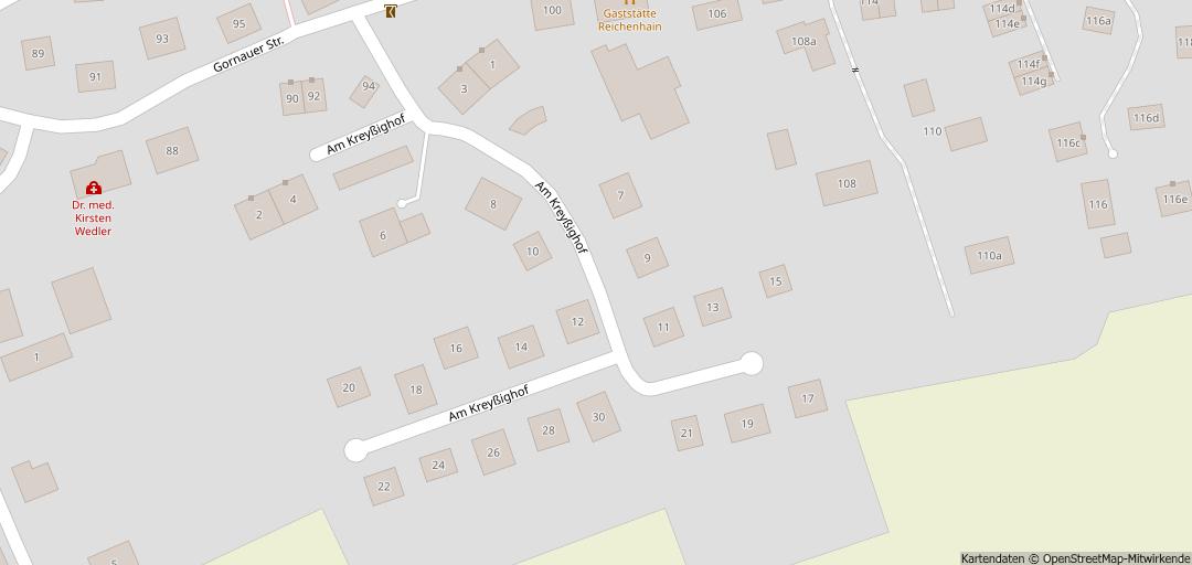 Eine Karte von einer Sackgassenwohnstraße